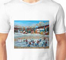 PAINTINGS OF CANADA COUNTRY HOCKEY GAME WINTER SCENE LANDSCAPES CAROLE SPANDAU Unisex T-Shirt
