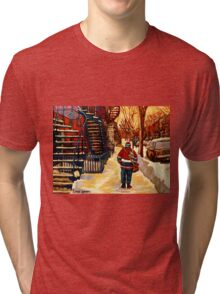 CANADIAN WINTER SCENES PAINTINGS FOR SALE BY CANADIAN ARTIST CAROLE SPANDAU Tri-blend T-Shirt