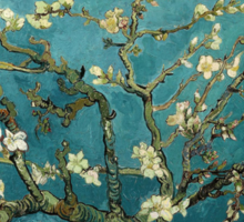 Blossoming Almond Tree, famous post  impressionism fine art oil painting by Vincent van Gogh.  Sticker