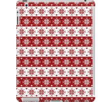 Red and White Fair Isle Snowflakes Pattern iPad Case/Skin