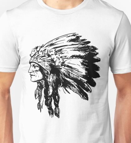 American Native Head Illustration Unisex T-Shirt