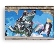 Cool Teal Brown Frog With Spraying Cans Canvas Print