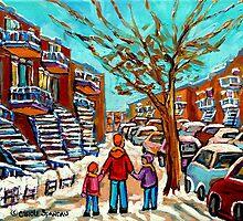 PAINTINGS OF CANADIAN WINTER SCENES URBAN CITY SCENES CAROLE SPANDAU by Carole  Spandau