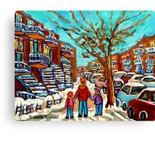 PAINTINGS OF CANADIAN WINTER SCENES URBAN CITY SCENES CAROLE SPANDAU Canvas Print