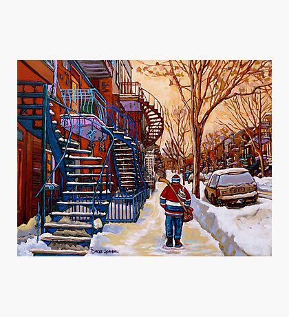 CANADIAN URBAN SCENES CANADIAN WINTER CITY ART PAINTINGS CAROLE SPANDAU Photographic Print