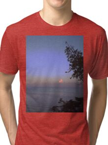 Tree and Clouds at Sunset Tri-blend T-Shirt