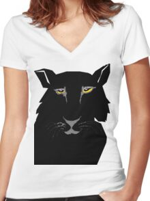 black panther  Women's Fitted V-Neck T-Shirt