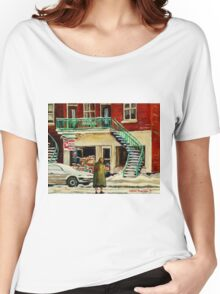 FAMOUS CANADIAN PAINTINGS BY ARTISTS OF CANADA WINTER URBAN SCENES CAROLE SPANDAU Women's Relaxed Fit T-Shirt