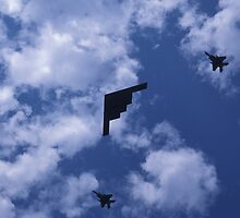 Stealth bomber with fighter escort by cardsdifferent