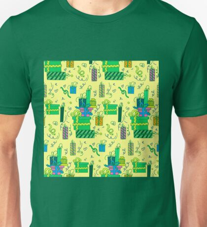 Happy Birthday Seamless Pattern with Presents for Children Party. Illustration Unisex T-Shirt