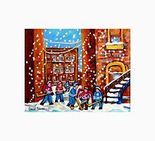 CANADIAN URBAN ARTIST DEPICTS SNOWY HOCKEY SCENE IN LANEWAY CAROLE SPANDAU Unisex T-Shirt