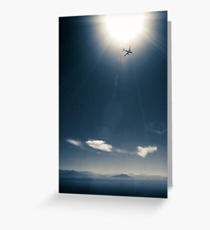 Airplane, sun and sea with mountains Greeting Card