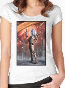 Retro Robot Painting 002 Women's Fitted Scoop T-Shirt