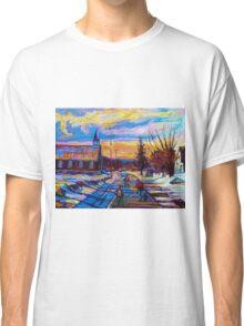 CANADIAN LANDSCAPE HOCKEY ART PAINTINGS WINTER SCENES OF CANADA CAROLE SPANDAU Classic T-Shirt