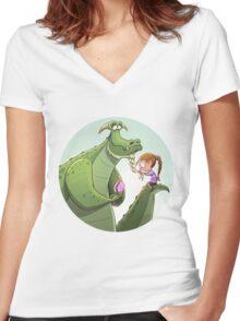 Dragon plait Women's Fitted V-Neck T-Shirt