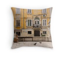 Kids Amongst The Pigeons Throw Pillow
