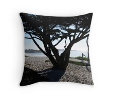 Cypress Tree Carmel Beach Throw Pillow