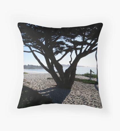 Cypress Tree Carmel Beach Throw Pillow