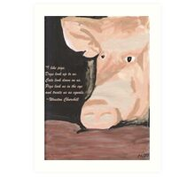 Pig Quoting Winston Churchill Art Print