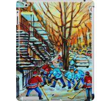 CANADIAN STREET HOCKEY PAINTINGS ART OF CANADA BY CANADIAN ARTIST CAROLE SPANDAU iPad Case/Skin