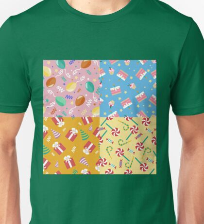 Happy Birthday Seamless Patterns Set with Cakes, Presents and Balloons for Children Party Unisex T-Shirt