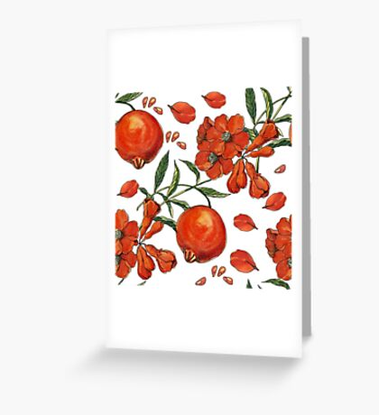 Beautiful pattern of tropical pomegranate Greeting Card