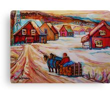 BEAUTIFUL PAINTINGS OF CANADA LOGGER WITH SLED CHARMING QUEBEC WINTER SCENE CAROLE SPANDAU Canvas Print