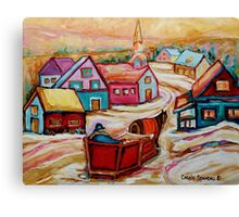 CANADIAN WINTER LANDSCAPE WITH HORSE AND SLED BEAUTIFUL CANADIAN PAINTINGS CAROLE SPANDAU Canvas Print