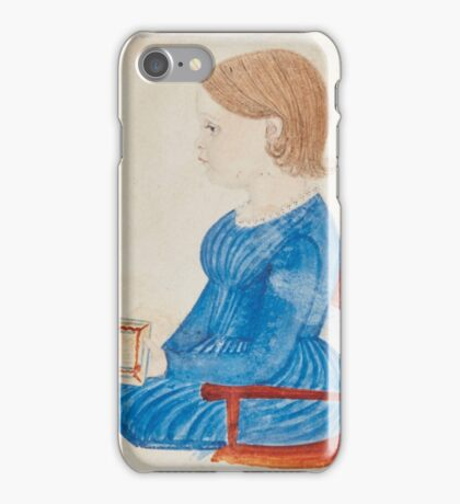 Justus Dalee  MINIATURE PORTRAIT OF A GIRL IN A BLUE DRESS SEATED IN AN ARMCHAIR AND HOLDING  MOTHER GOOSE MELODIES  iPhone Case/Skin