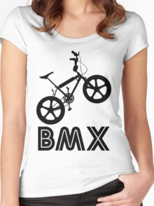 BMX Silhouette (Black) Women's Fitted Scoop T-Shirt
