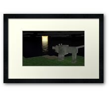 A wolf who's looking the Moon - Minecraft Framed Print