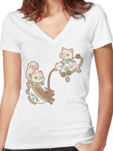Kittea Time Women's Fitted V-Neck T-Shirt