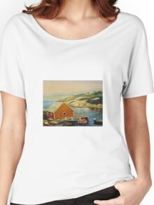 BEST CANADIAN PAINTINGS OF PEGGY'S COVE BY CANADIAN ARTIST CAROLE SPANDAU Women's Relaxed Fit T-Shirt