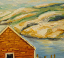 BEST CANADIAN PAINTINGS OF PEGGY'S COVE BY CANADIAN ARTIST CAROLE SPANDAU Sticker