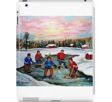 HOCKEY ART OF CANADA PAINTINGS OF POND HOCKEY CAROLE SPANDAU iPad Case/Skin