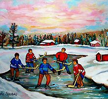 HOCKEY ART OF CANADA PAINTINGS OF POND HOCKEY CAROLE SPANDAU by Carole  Spandau