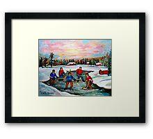 HOCKEY ART OF CANADA PAINTINGS OF POND HOCKEY CAROLE SPANDAU Framed Print