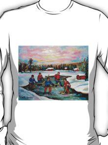 HOCKEY ART OF CANADA PAINTINGS OF POND HOCKEY CAROLE SPANDAU T-Shirt