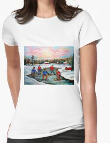 HOCKEY ART OF CANADA PAINTINGS OF POND HOCKEY CAROLE SPANDAU Womens Fitted T-Shirt