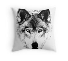Wolf Face. Digital Wildlife Image. Throw Pillow