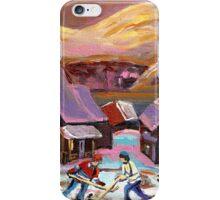 POND HOCKEY IN CANADIAN WINTER SCENE HOCKEY ART PAINTING CAROLE SPANDAU iPhone Case/Skin