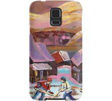 POND HOCKEY IN CANADIAN WINTER SCENE HOCKEY ART PAINTING CAROLE SPANDAU Samsung Galaxy Case/Skin