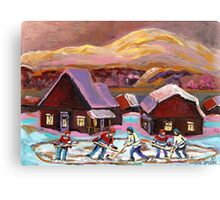 POND HOCKEY IN CANADIAN WINTER SCENE HOCKEY ART PAINTING CAROLE SPANDAU Canvas Print