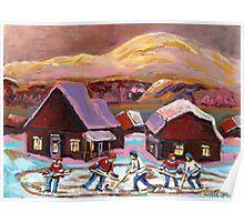 POND HOCKEY IN CANADIAN WINTER SCENE HOCKEY ART PAINTING CAROLE SPANDAU Poster
