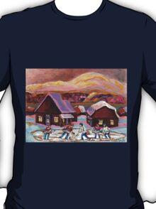 POND HOCKEY IN CANADIAN WINTER SCENE HOCKEY ART PAINTING CAROLE SPANDAU T-Shirt