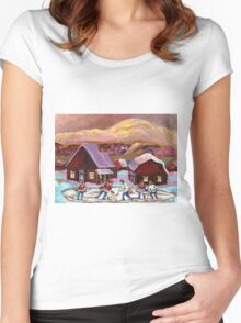 POND HOCKEY IN CANADIAN WINTER SCENE HOCKEY ART PAINTING CAROLE SPANDAU Women's Fitted Scoop T-Shirt