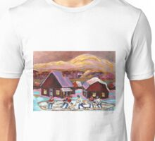 POND HOCKEY IN CANADIAN WINTER SCENE HOCKEY ART PAINTING CAROLE SPANDAU Unisex T-Shirt
