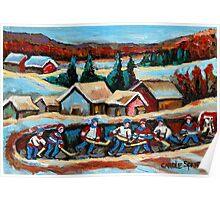 CANADIAN WINTER SCENES POND HOCKEY PAINTINGS COUNTRY SCENES CAROLE SPANDAU Poster
