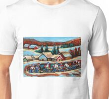 CANADIAN WINTER SCENES POND HOCKEY PAINTINGS COUNTRY SCENES CAROLE SPANDAU Unisex T-Shirt