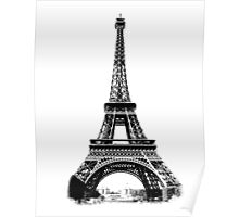 Eiffel Tower Digital Engraving Poster